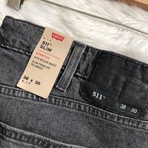 Mens Levi's 511 Gray Slim Stretch Skinny Jeans